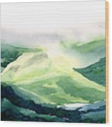 Sunlit Mountain Wood Print