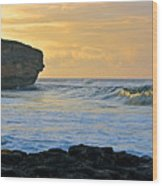 Sunlit Waves - Kauai Dawn Wood Print