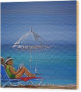 Sunloungers Wood Print