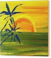 Sunny Blue Palms Wood Print