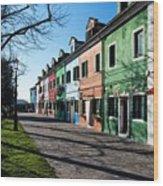 Sunny Colors Of Burano Wood Print
