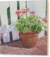 Sunny Day Geraniums Wood Print by Bobbi Price