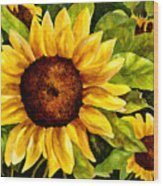 Sunny Floral Wood Print