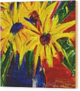Sunny Flowers Wood Print