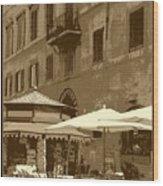 Sunny Italian Cafe - Sepia Wood Print