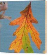 Sunny Oak Leaf Wood Print