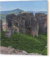 Sunny Panorama Of Greek Meteora Wood Print