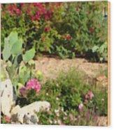 Sunny Rock Garden Wood Print
