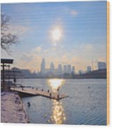 Sunny Schuylkill River In Winter Wood Print