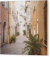 Sunny Street In Villefranche-sur-mer Wood Print