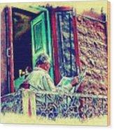 Sunny Sunday Morning Newspaper Vintage India Rajasthan Udaipur 2b Wood Print