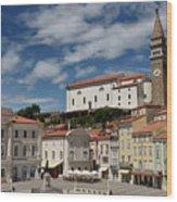 Sunny Tartini Square In Piran Slovenia With Government Building, Wood Print
