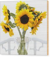 Sunny Vase Of Sunflowers Wood Print