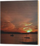 Sunraise Over Lake Wood Print
