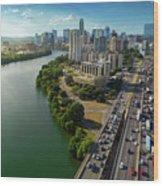 Sunrays Paint The Austin Skyline As Rush Hour Traffic Picks Up On I-35 Wood Print