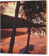 Sunrise And Birch Trees Wood Print
