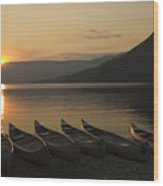 Sunrise And Canoes On Adams Lake Wood Print