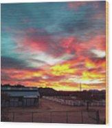 Sunrise And Horse Barn Wood Print