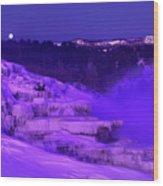 Sunrise And Moonset Over Minerva Springs Yellowstone National Park Wood Print
