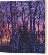 Sunrise And Snow Wood Print