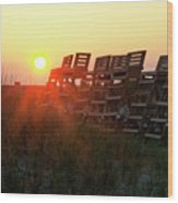 Sunrise And The Lifeguard Chairs  Wood Print