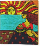 Sunrise At Beach Madhubani Painting Wood Print