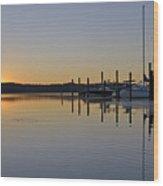 Sunrise At Belle Haven Marina In Alexandria Virginia Wood Print by Brendan Reals