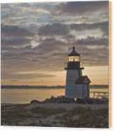 Sunrise At Brant Point Nantucket Wood Print