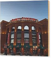 Sunrise At Busch Stadium Wood Print