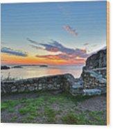 Sunrise At Castle Rock Marblehead Ma Rocky Coast Wood Print