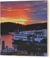 Sunrise At Friday Harbor Wood Print