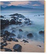 Sunrise At Ho'okipa - Sunrise At Hookipa Beach In Maui Wood Print