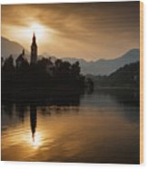 Sunrise At Lake Bled Wood Print
