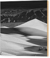 Sunrise At Mesquite Flat Sand Dunes Panorama Wood Print