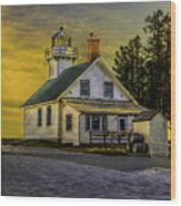 Sunrise At Mission Point Light Wood Print
