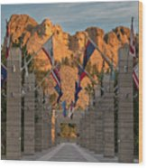 Sunrise At Mount Rushmore Promenade Wood Print