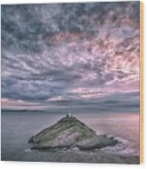 Sunrise At Mumbles Lighthouse Wood Print