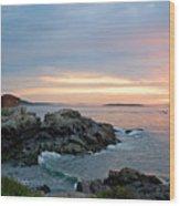 Sunrise At Portland Head Lighthouse Wood Print