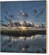 Sunrise At Sabine Pass Wood Print