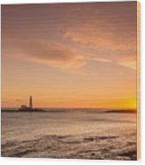 Sunrise At St Mary's Lighthouse Wood Print