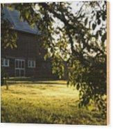 Sunrise At The Barn Wood Print