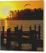 Sunrise At The Boat Launch  Wood Print