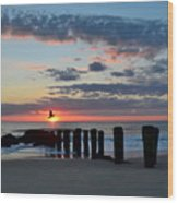 Sunrise At The Jersey Shore Wood Print