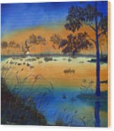 Sunrise At The Lake Wood Print