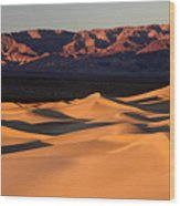 Sunrise At The Mesquite Sand Dunes Wood Print