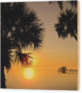 Sunrise At The Space Coast Fl Wood Print