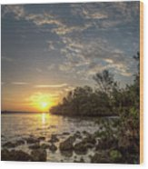 Sunrise At The Sunshine Skyway Wood Print