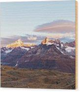 Sunrise At The Swiss Alps Wood Print