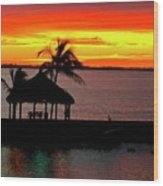 Sunrise At The Tiki Hut Wood Print