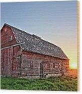 Sunrise Barn Wood Print